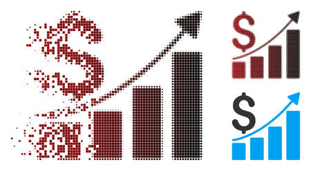 Vector sales growth chart icon in dispersed, pixelated halftone and undamaged solid variants. Disappearing effect uses rectangular scintillas and horizontal gradient from red to black.