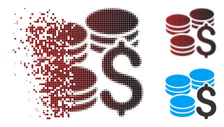 Vector dollar coins icon in dispersed, pixelated halftone and undamaged solid variants. Disappearing effect uses square particles and horizontal gradient from red to black.