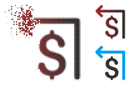 Vector moneyback icon in dissolved, dotted halftone and undamaged solid versions. Disappearing effect involves rectangular particles and horizontal gradient from red to black.