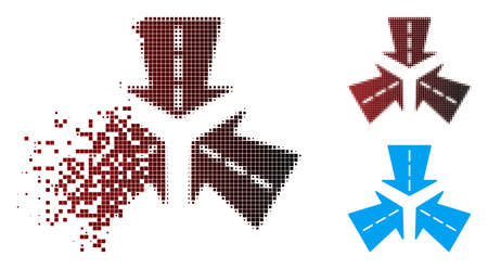 Vector merge directions icon in dispersed, pixelated halftone and undamaged entire versions. Disintegration effect uses rectangular dots and horizontal gradient from red to black.