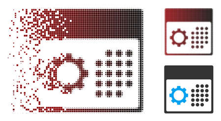 Vector service calendar icon in dispersed, pixelated halftone and undamaged solid variants. Disintegration effect uses square particles and horizontal gradient from red to black.