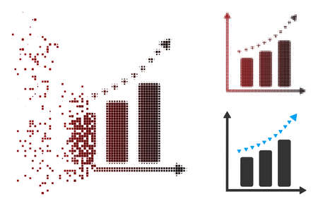 Vector dotted positive trend icon in dispersed, dotted halftone and undamaged whole versions. Disintegration effect involves rectangular dots and horizontal gradient from red to black.
