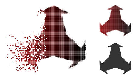 Vector directions icon in dissolved, dotted halftone and undamaged solid variants. Disappearing effect involves rectangular dots and horizontal gradient from red to black.