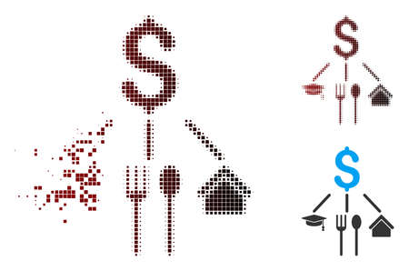 Vector consumption pattern icon in fractured, dotted halftone and undamaged whole versions. Disintegration effect uses rectangle particles and horizontal gradient from red to black.