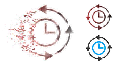 Vector wayback clock icon in dissolved, dotted halftone and undamaged solid versions. Disintegration effect uses rectangular dots and horizontal gradient from red to black. Illustration