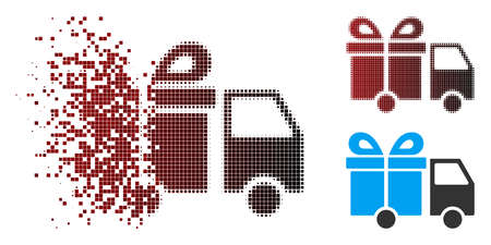 Vector gift delivery van icon in sparkle, dotted halftone and undamaged entire variants. Disappearing effect uses square scintillas and horizontal gradient from red to black. Illustration
