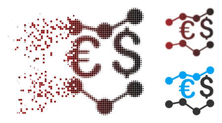 Vector financial trends icon in sparkle, pixelated halftone and undamaged solid variants. Disintegration effect uses square particles and horizontal gradient from red to black.