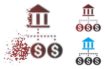 Vector bank structure icon in dispersed, dotted halftone and undamaged entire versions. Disappearing effect involves rectangular scintillas and horizontal gradient from red to black.