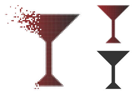 Vector wine glass icon in dissolved, dotted halftone and undamaged whole versions. Disintegration effect involves rectangle particles and horizontal gradient from red to black.