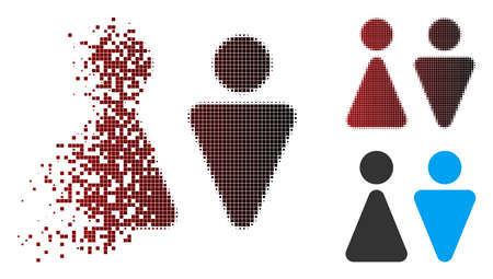 Vector WC persons icon in fractured, dotted halftone and undamaged whole versions. Disappearing effect uses square scintillas and horizontal gradient from red to black. Illustration