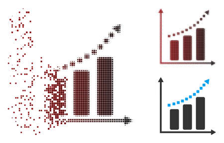 Vector positive trend icon in sparkle, pixelated halftone and undamaged whole versions. Disintegration effect involves rectangular dots and horizontal gradient from red to black.