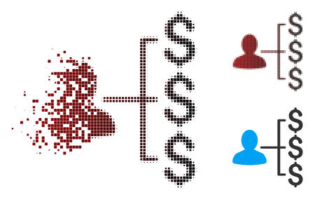Vector payer relations icon in fractured, pixelated halftone and undamaged whole variants. Disappearing effect involves square sparks and horizontal gradient from red to black. Illustration