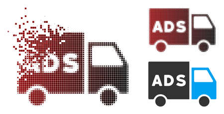 Vector advertisement van icon in sparkle, dotted halftone and undamaged entire versions. Disappearing effect uses rectangular dots and horizontal gradient from red to black.