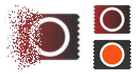 Icône de pack de préservatifs de vecteur en demi-teinte fracturée, pixélisée et variantes entières intactes. L'effet de désintégration implique des particules rectangulaires et un gradient horizontal du rouge au noir.