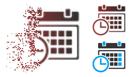 Vector date and time icon in sparkle, dotted halftone and undamaged entire versions. Disintegration effect involves rectangular scintillas and horizontal gradient from red to black.
