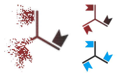 Vector flags icon in dissolved, dotted halftone and undamaged entire variants. Disappearing effect uses square scintillas and horizontal gradient from red to black.