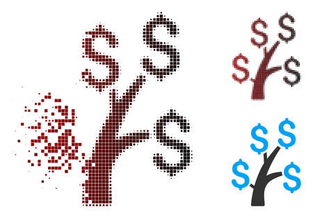 Vector money tree icon in dissolved, pixelated halftone and undamaged whole variants. Disappearing effect uses square particles and horizontal gradient from red to black.