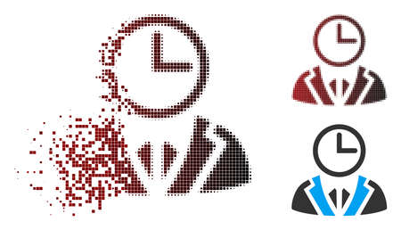 Vector duty person icon in dispersed, dotted halftone and undamaged solid variants. Disappearing effect uses square dots and horizontal gradient from red to black. Illustration