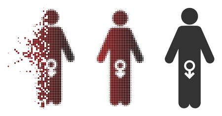 Vector icono de impotencia masculina en brillo, semitono pixelado y versiones enteras sin daños. El efecto de desaparición implica chispas rectangulares y un degradado horizontal de rojo a negro. Ilustración de vector