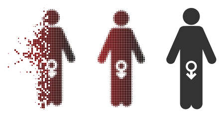 Vector male impotence icon in sparkle, pixelated halftone and undamaged whole versions. Disappearing effect involves rectangle sparks and horizontal gradient from red to black.