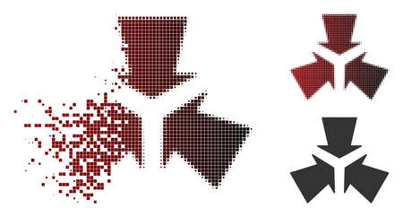 Vector shrink arrows icon in sparkle, dotted halftone and undamaged entire variants. Disintegration effect involves square sparks and horizontal gradient from red to black. Ilustração