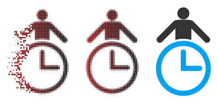 Vector time manager icon in dispersed, dotted halftone and undamaged solid versions. Disintegration effect uses rectangular particles and horizontal gradient from red to black.