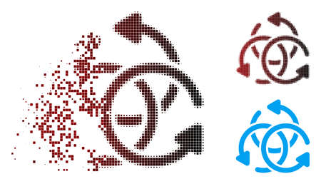 Vector knot rotation icon in sparkle, pixelated halftone and undamaged solid versions. Disintegration effect involves square scintillas and horizontal gradient from red to black. Vektorgrafik