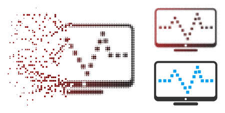 Vector pulse monitoring icon in sparkle, pixelated halftone and undamaged solid variants. Disappearing effect uses square particles and horizontal gradient from red to black. Illustration