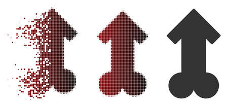 Vector male sexual potence icon in sparkle, dotted halftone and undamaged entire versions. Disappearing effect uses square particles and horizontal gradient from red to black.