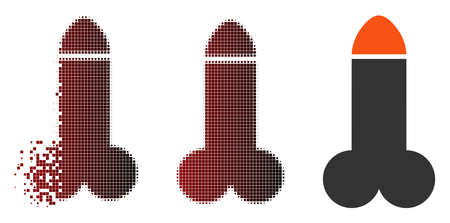 Vector dildo icon in dissolved, dotted halftone and undamaged entire versions. Disappearing effect uses rectangular particles and horizontal gradient from red to black. Ilustração