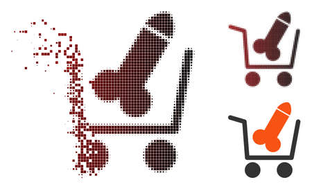 Vector sex shopping cart icon in fractured, pixelated halftone and undamaged entire variants. Disappearing effect involves rectangular scintillas and horizontal gradient from red to black.