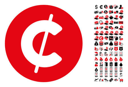 Cent coin icon. Vector illustration style is flat iconic symbols in black and red colors. Bonus contains 90 icons designed for business and commercial applications. Illustration