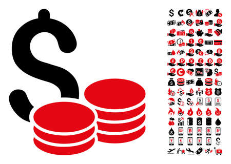 Cash icon. Vector illustration style is flat iconic symbols in black and red colors. Bonus contains 90 icons designed for business and commercial applications.