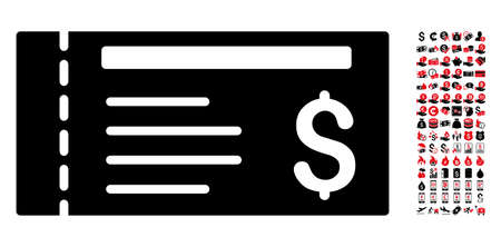 Dollar cheque icon. Vector illustration style is flat iconic symbols in black and red colors. Bonus contains 90 icons designed for business and commercial applications.