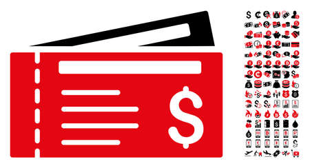 Dollar cheques icon. Vector illustration style is flat iconic symbols in black and red colors. Bonus contains 90 icons designed for business and commercial applications.