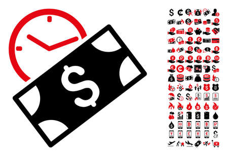Rent recurring payment icon. Vector illustration style is flat iconic symbols in black and red colors. Bonus contains 90 icons designed for business and commercial applications.