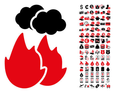 Fire with smoke icon. Vector illustration style is flat iconic symbols in black and red colors. Bonus contains 90 icons designed for business and commercial applications.