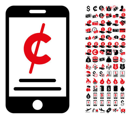 Mobile micropayment icon. Vector illustration style is flat iconic symbols in black and red colors. Bonus contains 90 icons designed for business and commercial applications.