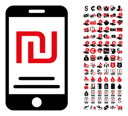 Shekel mobile payment icon. Vector illustration style is flat iconic symbols in black and red colors. Bonus contains 90 icons designed for business and commercial applications.