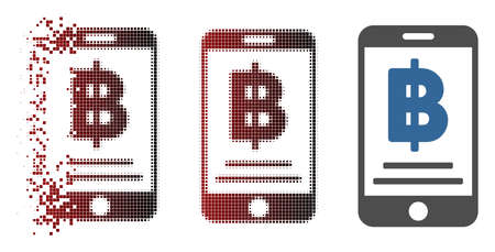 Vector Bitcoin mobile payment icon in dispersed, dotted halftone and undamaged solid versions. Disintegration effect uses square scintillas and horizontal gradient from red to black. Illustration