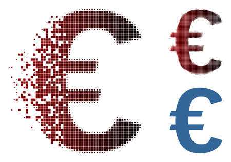 Vector Euro symbol icon in sparkle, pixelated halftone and undamaged whole variants. Disintegration effect involves rectangular particles and horizontal gradient from red to black.