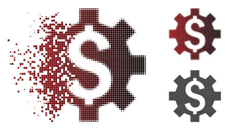 Vector dollar options icon in fractured, pixelated halftone and undamaged whole versions. Disappearing effect uses rectangular particles and horizontal gradient from red to black.