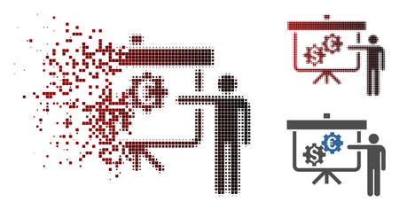 Vector international banking project icon in dissolved, dotted halftone and undamaged whole variants. Disintegration effect uses rectangle particles and horizontal gradient from red to black.