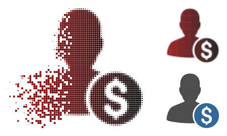 Vector investor icon in dissolved, dotted halftone and undamaged whole versions. Disappearing effect uses rectangle particles and horizontal gradient from red to black. Illustration