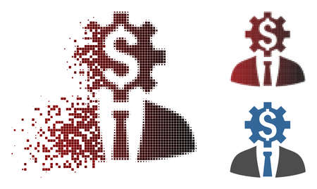 Vector office worker icon in sparkle, pixelated halftone and undamaged solid variants. Disappearing effect involves rectangular scintillas and horizontal gradient from red to black.