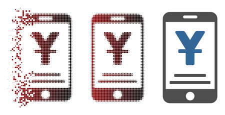 Vector yuan mobile payment icon in dissolved, pixelated halftone and undamaged whole variants. Disappearing effect involves rectangle scintillas and horizontal gradient from red to black. Illustration