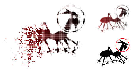 Vector alien creature skafandr icon in dispersed, pixelated halftone and undamaged entire variants. Disappearing effect involves rectangular sparks and horizontal gradient from red to black.