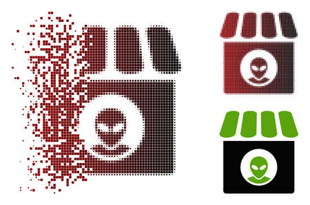 Vector alien shop icon in sparkle, pixelated halftone and undamaged entire variants. Disappearing effect uses square dots and horizontal gradient from red to black. 向量圖像