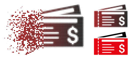 Vector dollar cheques icon in sparkle, pixelated halftone and undamaged solid variants. Disintegration effect involves rectangular dots and horizontal gradient from red to black. Ilustrace