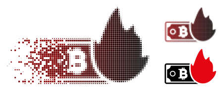 Vector fired bitcoin banknote icon in sparkle, pixelated halftone and undamaged entire variants. Disintegration effect involves rectangular particles and horizontal gradient from red to black.